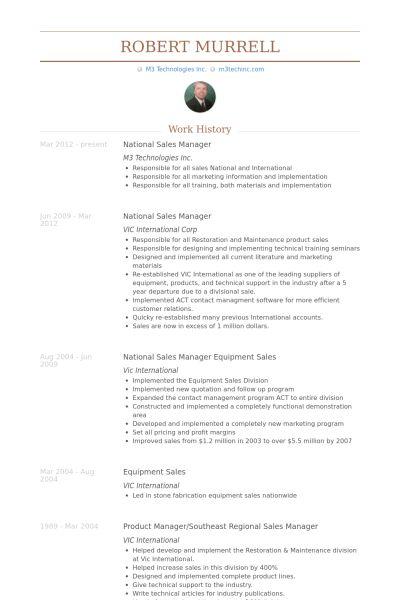 National Sales Manager Resume samples - VisualCV resume samples ...