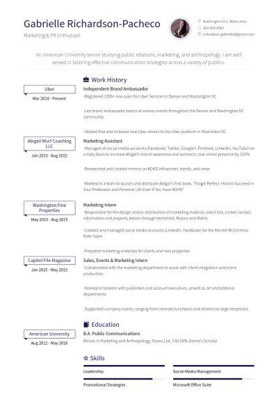 Ambassadeur De La Marque Exemple de CV - Base de données des CV de ...