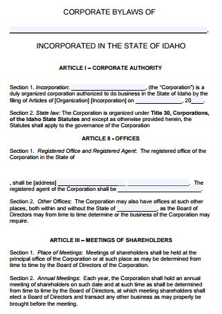Free Idaho Corporate Bylaws Template | PDF | Word |