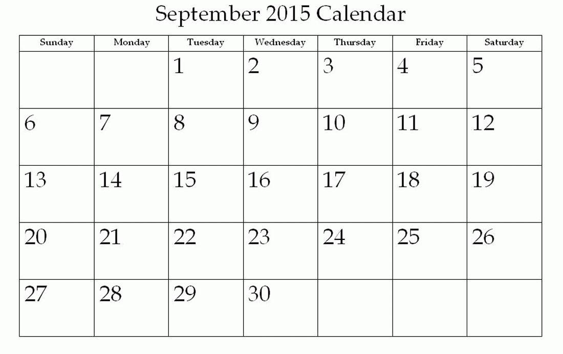 Monthly Calendar Printable 2015 September   Calendar 2015 ...