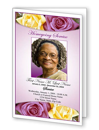 Lovely Purple Rose Funeral Program Template | Top Funeral Program ...