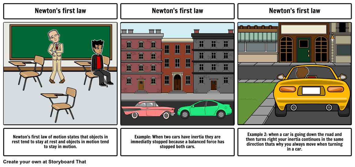 Newton's first law Storyboard by austiningram