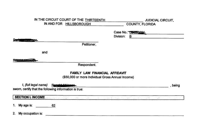 Family Law Financial Affidavit | Florida Divorce Pleadings