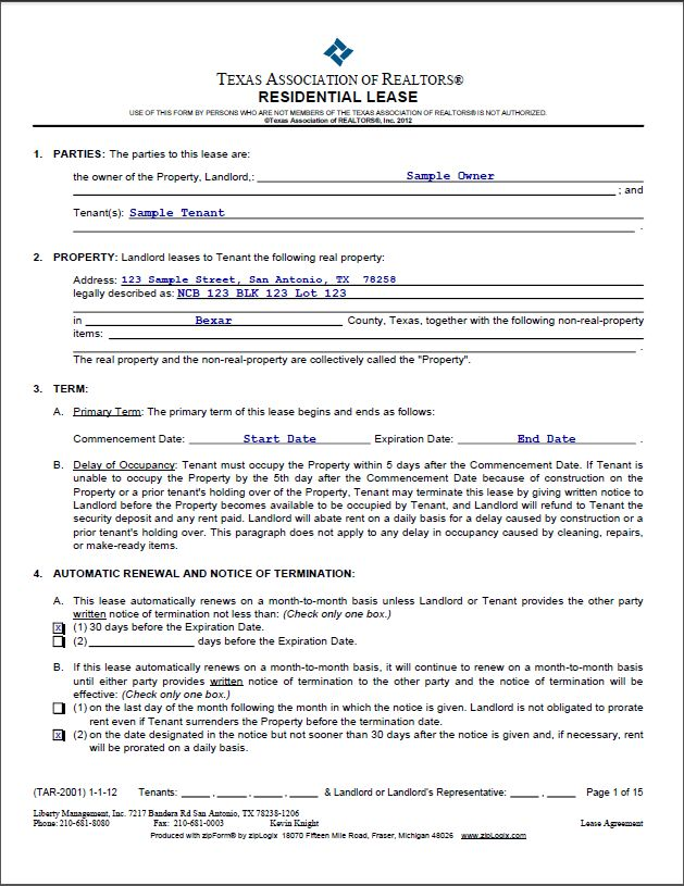 Printable Sample Lease Agreement Sample Form | Real Estate Forms ...