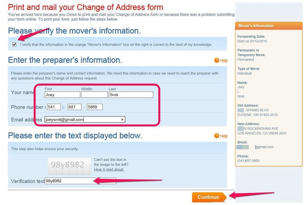 Address Change Form. Printable Address Change Form Construction ...