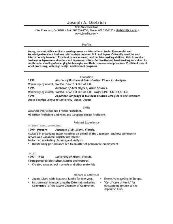 Job Resume Template Microsoft Word - Resume Sample