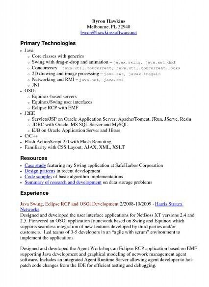 Java Developer Resume Sample - Sample Resume Cover Letter Format