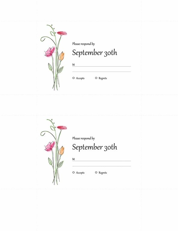 Wedding RSVP cards (2 per page) - Office Templates