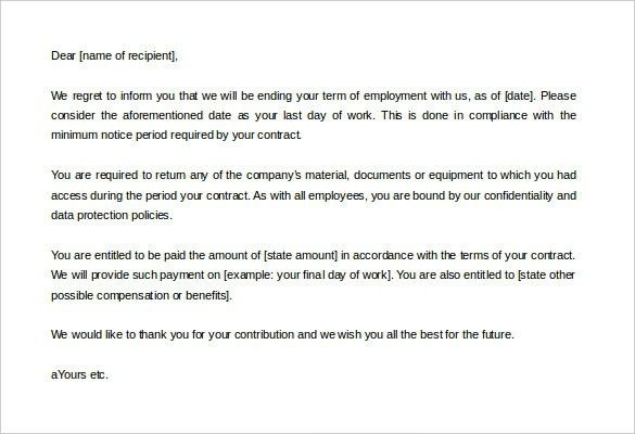 sample employee termination letter employee termination letter ...