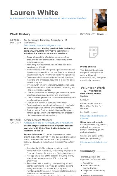 Hr Generalist Sample Resume - Gallery Creawizard.com