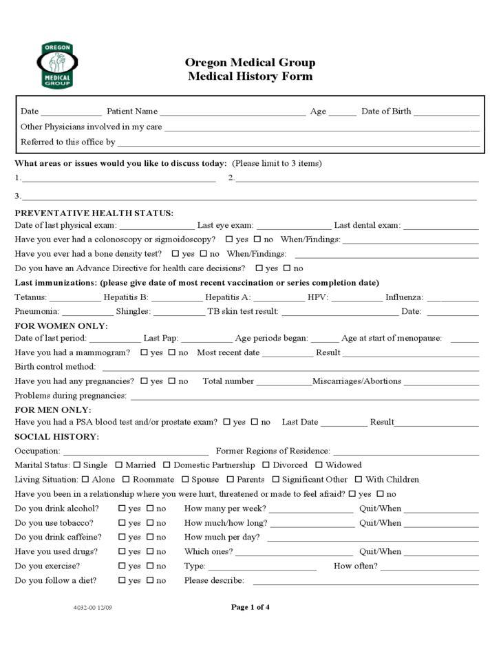 Medical Group Medical History Form - Oregon Free Download