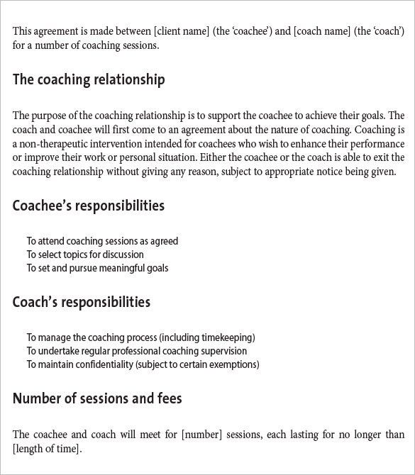 Coaching Contract Template - 3 Free Word, PDF Documents Download ...
