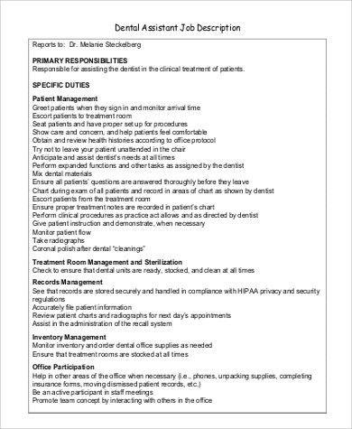 Sample Dentist Job Description   9+ Examples In PDF