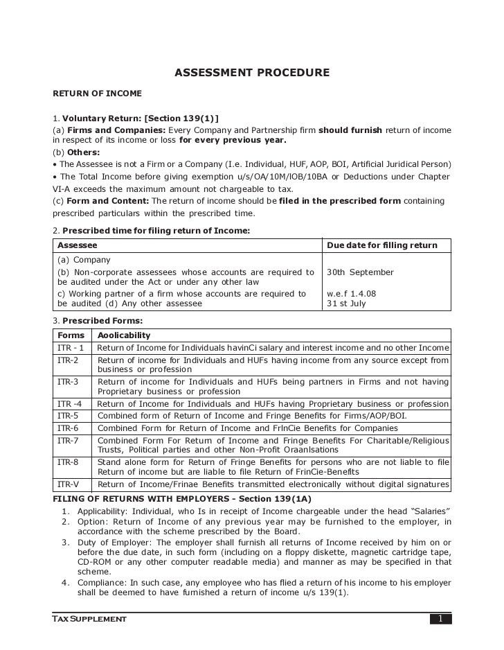 Assessment Procedure Indian Income Tax