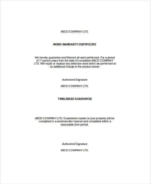 Warranty Certificate Template - 7+ Free Word, PDF Documents ...