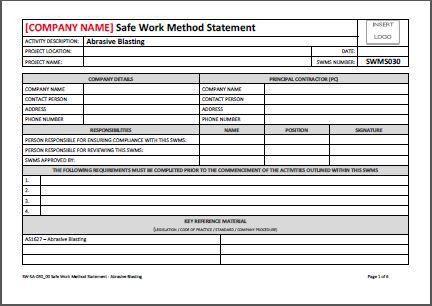 Safe Work Method Statement - Abrasive Blasting - AllSafety ...