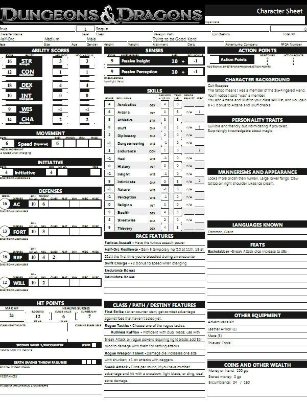 Building a better character sheet – Greywulf's Lair