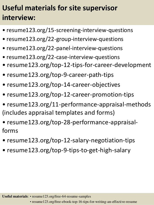 Top 8 site supervisor resume samples