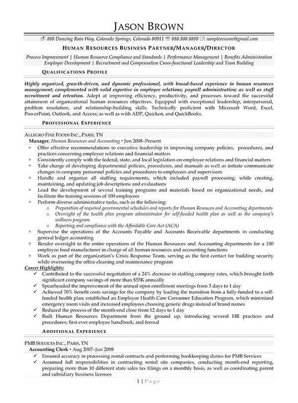 Download Hr Business Partner Resume | haadyaooverbayresort.com
