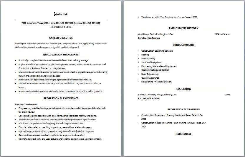 Download Resume For Construction | haadyaooverbayresort.com