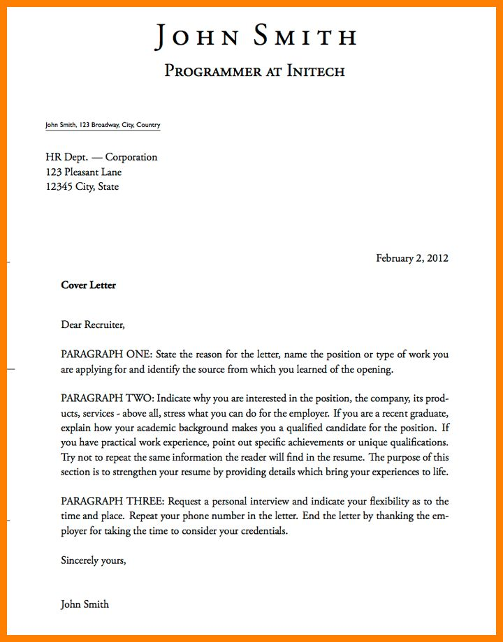 6 formal cover letter character refence - Formal Covering Letter