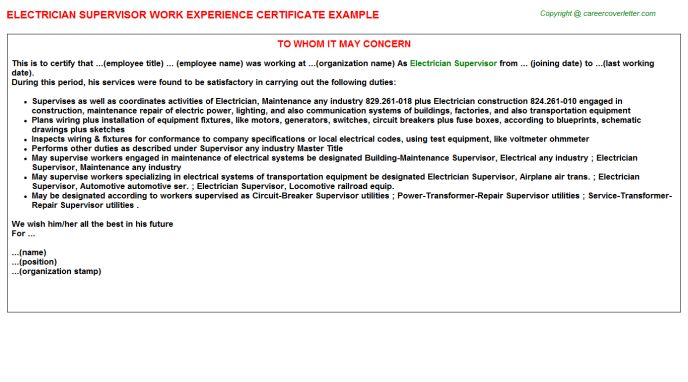 Electrician Supervisor Work Experience Certificate