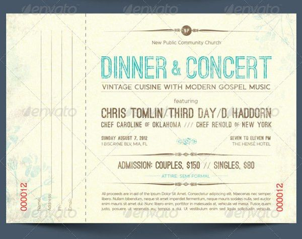 6+ Dinner Ticket Tem6lates - - Free PSD, AI, Vector EPS Format ...