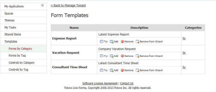Manage Templates - frevvo 5 - Confluence