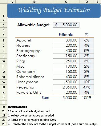 Free Wedding Budget Worksheet - Printable and Easy to Use