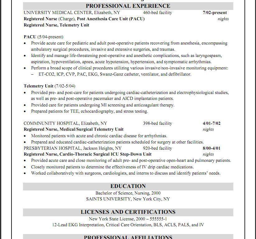 Medical Telemetry Nurse Resume. nursing resume writing service rn ...