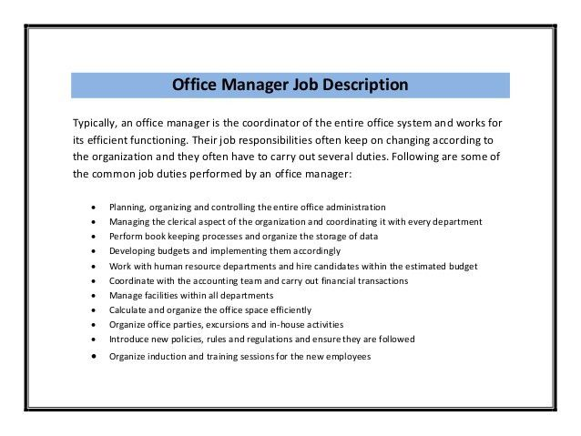 Office Manager Job Description. Office Manager Resume Template ...