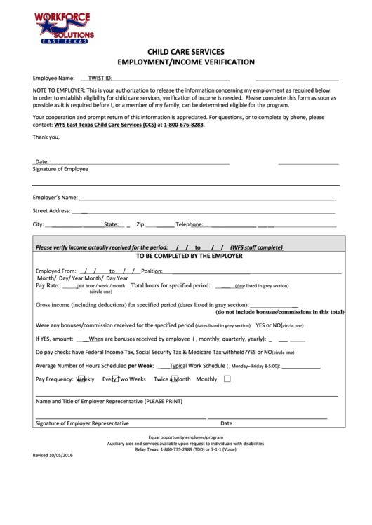 Top 6 Employment Verification Form Texas Templates free to ...