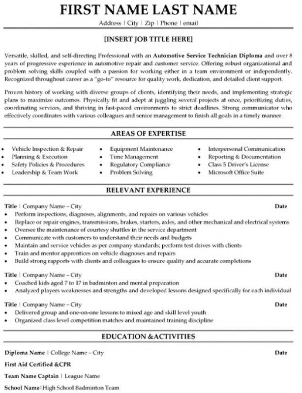 Auto Mechanic Resume Job Description - Contegri.com
