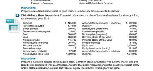 Prepare A Classified Balance Sheet In Good Form. (... | Chegg.com