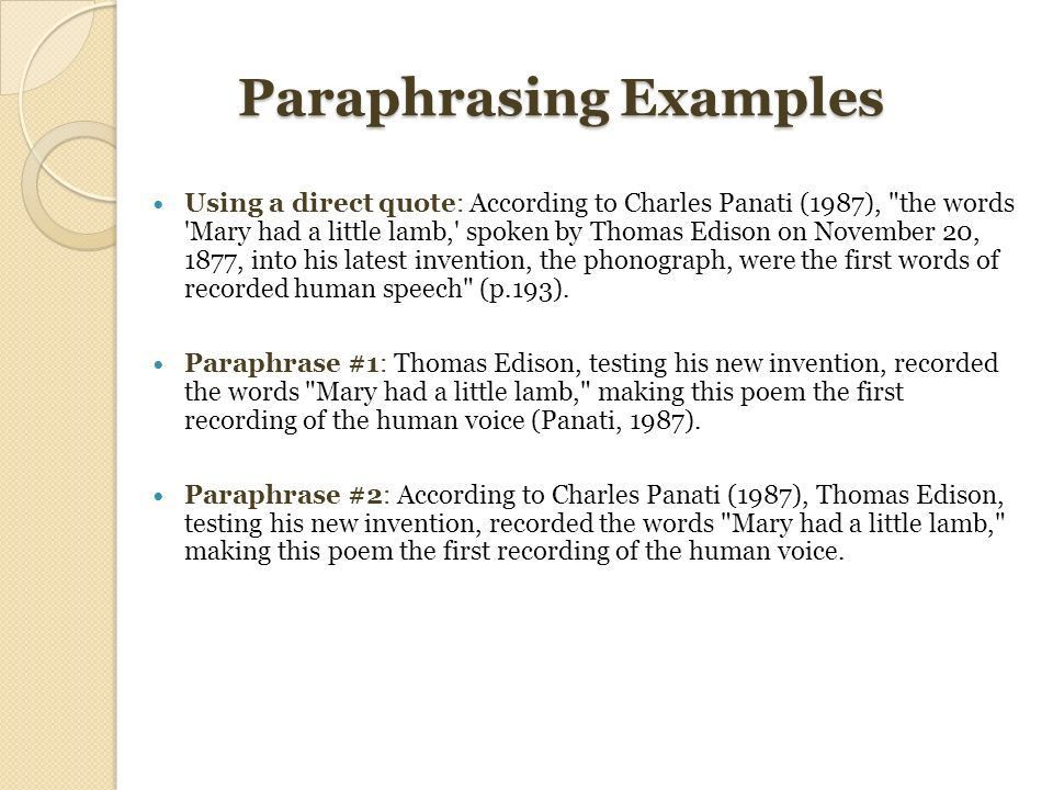 CM220 Unit 5 Seminar Citing your sources: Paraphrasing, Quotations ...