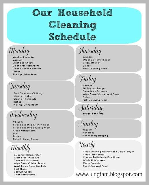 House Cleaning Schedule Printable (via the lung family) | Cleaning ...