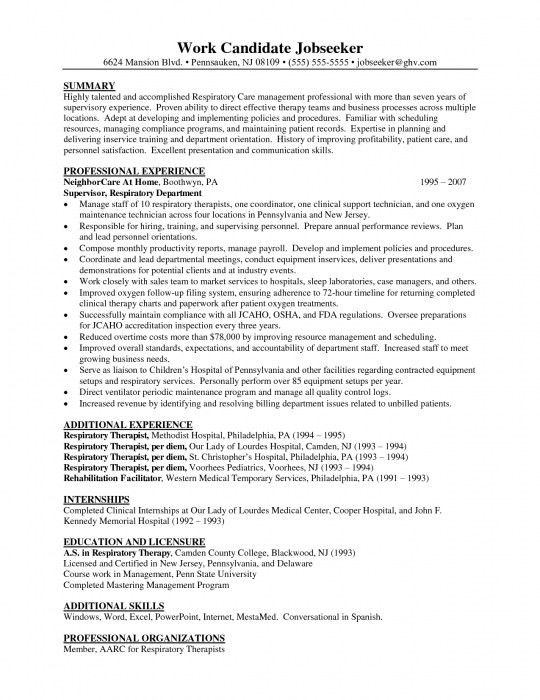 6 Entry Level Respiratory Therapist Resume Resume examples entry ...