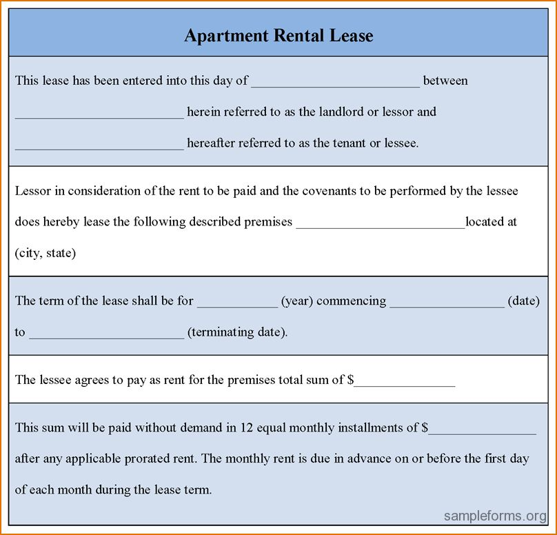 5+ Apartment Lease Template | Printable Receipt