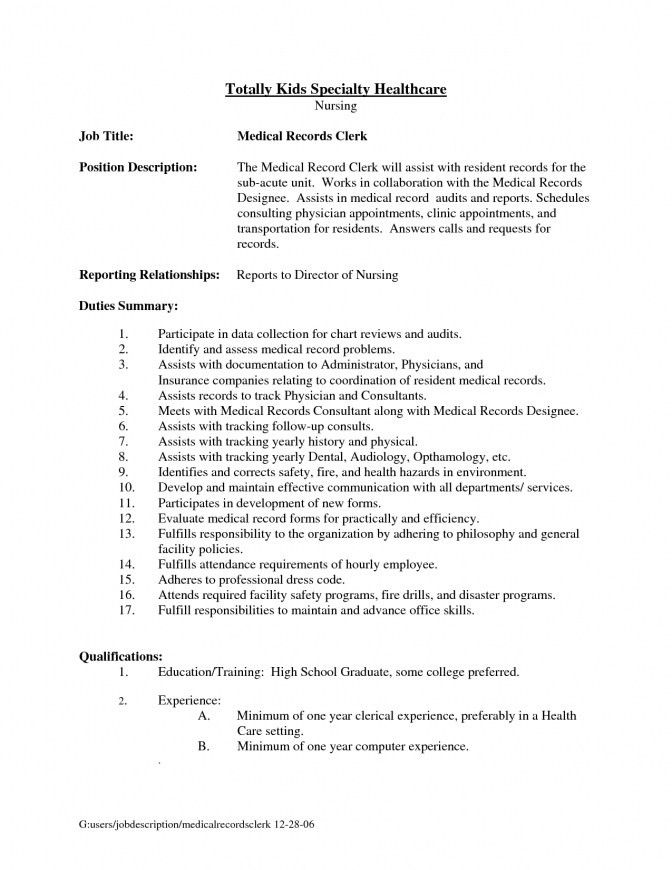 Record Clerk Resume Sales Clerk Lewesmr Medical Records Resume ...
