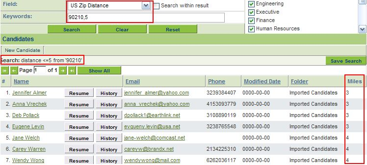 Searching by distance in the Applicant Tracking System - SmartWiki