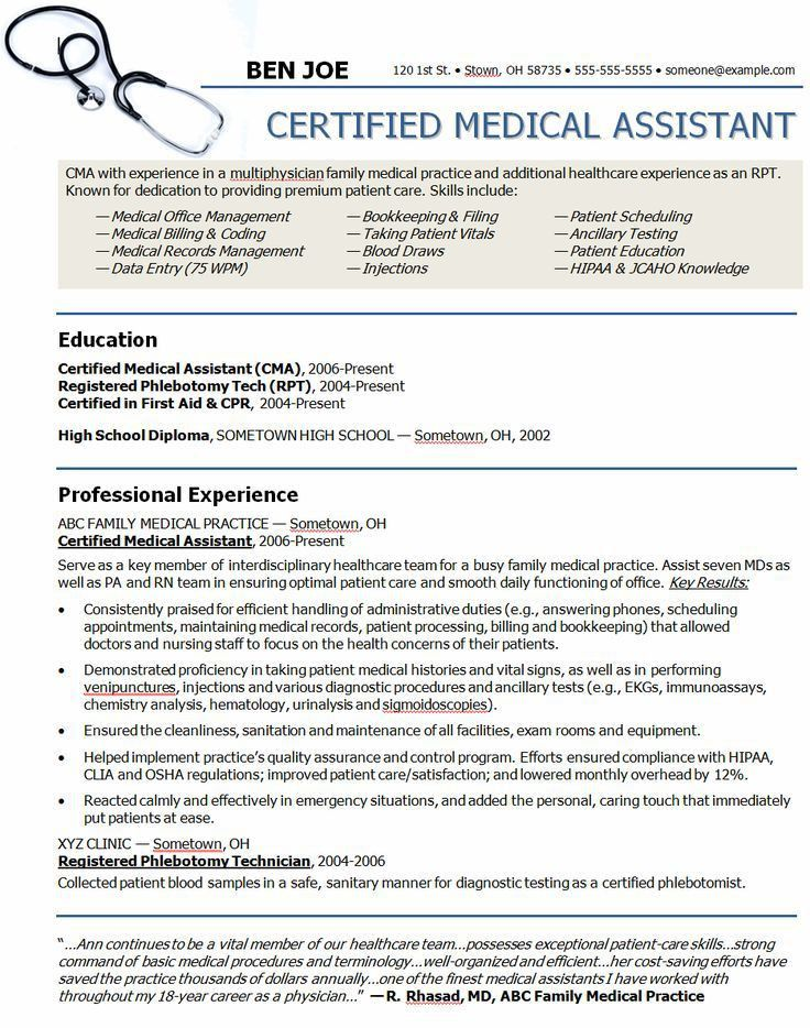 Medical Assistant Resume Example. Objective Resume For Medical ...