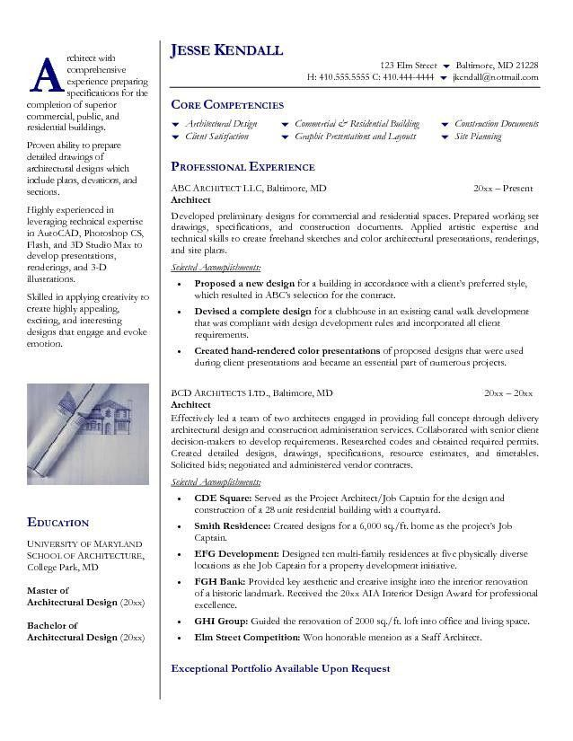 architect resume objective effective and simple architect resume