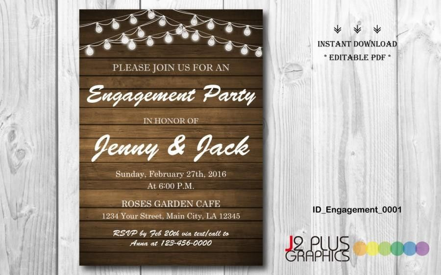 INSTANT DOWNLOAD Engagement Invitation, Rustic Lights Engagement ...