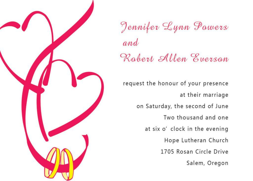 Lovely Free Engagement Invitation Card Template With Red Hearts ...