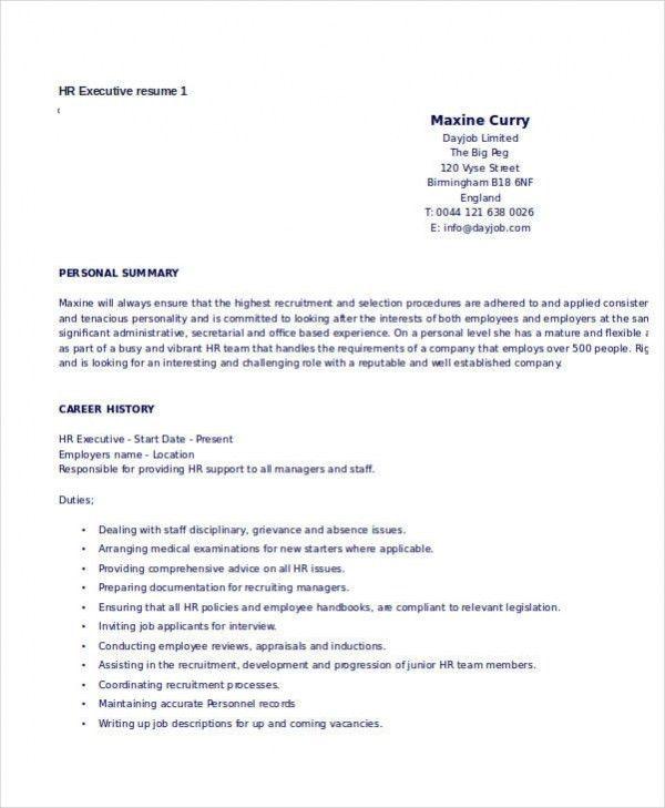 hr executive resume hr resume templates free resume templates