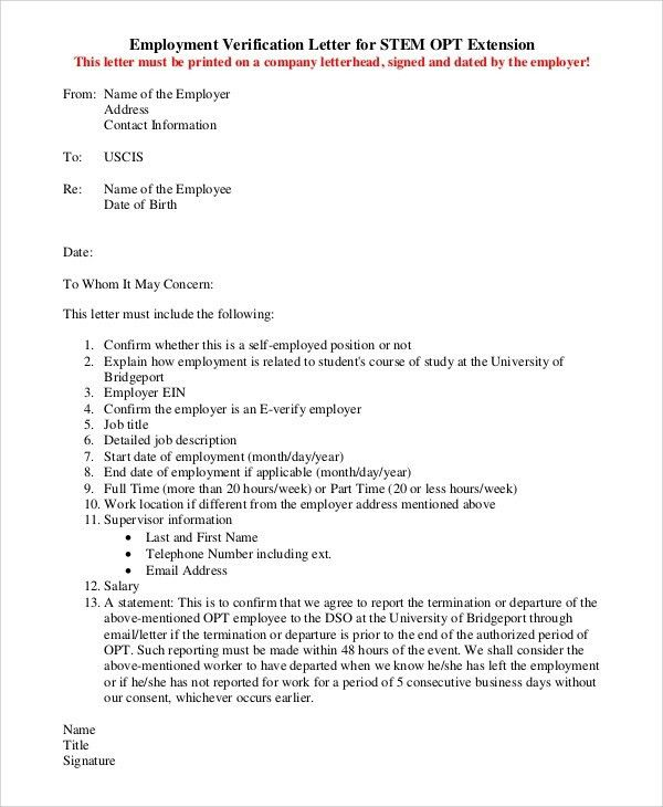 Green Card Employment Verification Letter | The Letter Sample