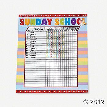 Sunday School Attendance Sticker Charts | Attendance chart, School ...