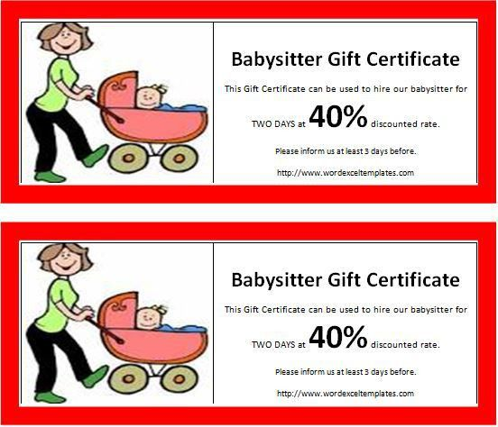 MS Word Babysitter Gift Certificate Template   Word & Excel Templates