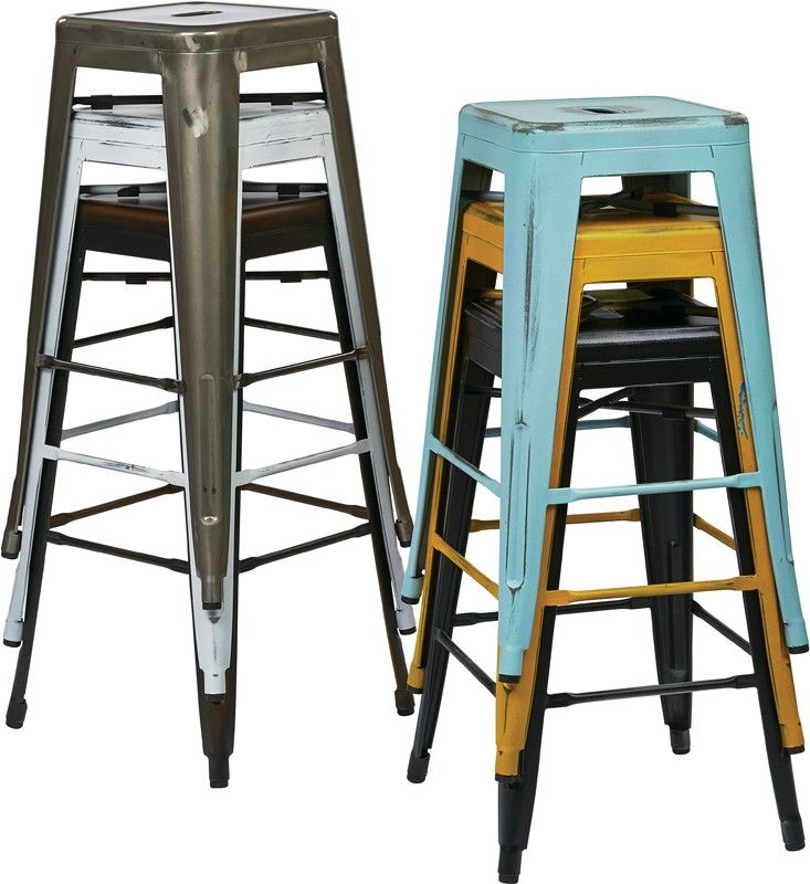 Designs Bristow 26'' Backless Metal Barstools - 2-Pack - Gunmetal ...