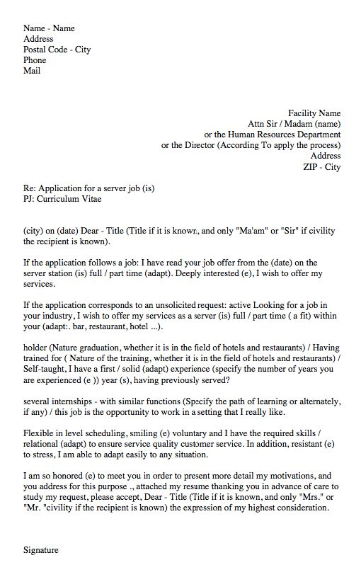 waitress cover letter sample - http://resumesdesign.com/waitress ...
